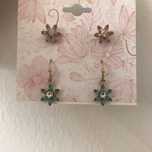 NWT MIXIT Goldtone Earrings w/ faux stones